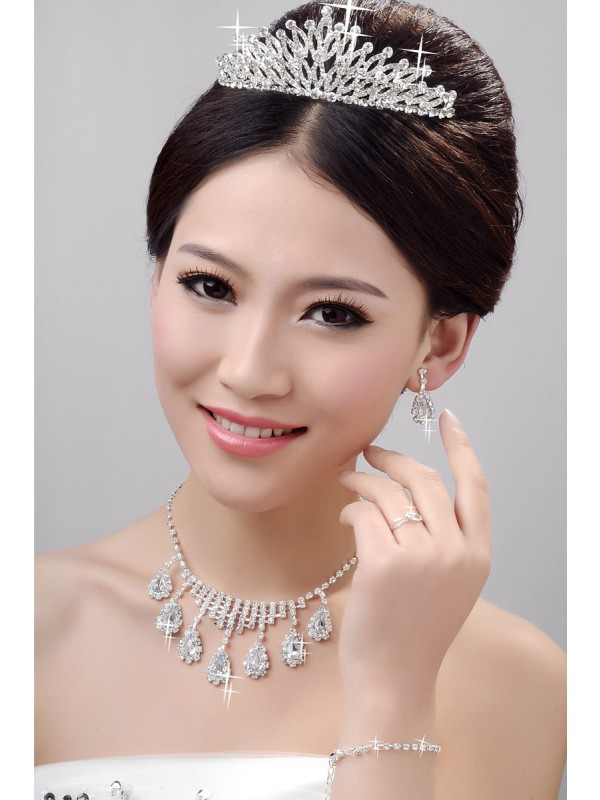Awesome Alloy Clear Kristalles Wedding Headpieces Halskette Ohrringe Set