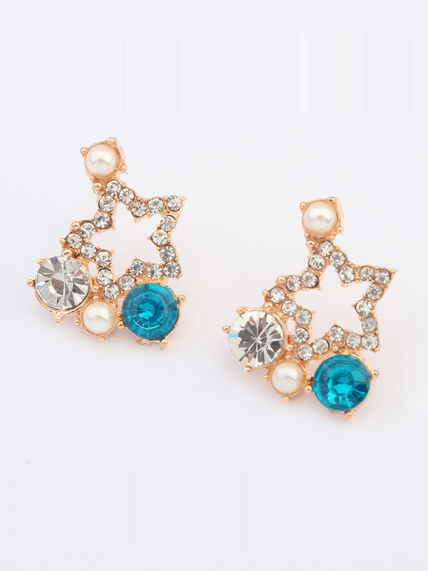 Occident Popular Five-pointed star with diamonds Stud Hot Sale Ohrringe