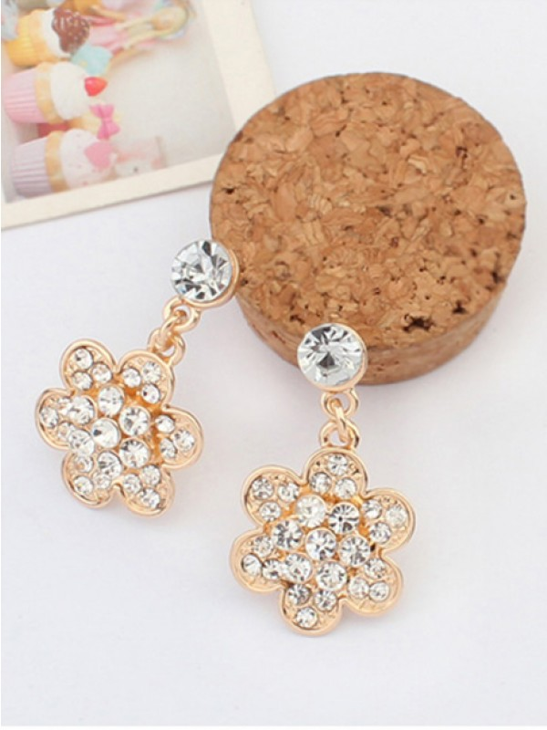 Occident Exquisite with diamonds Flowers Hot Sale Ohrringe