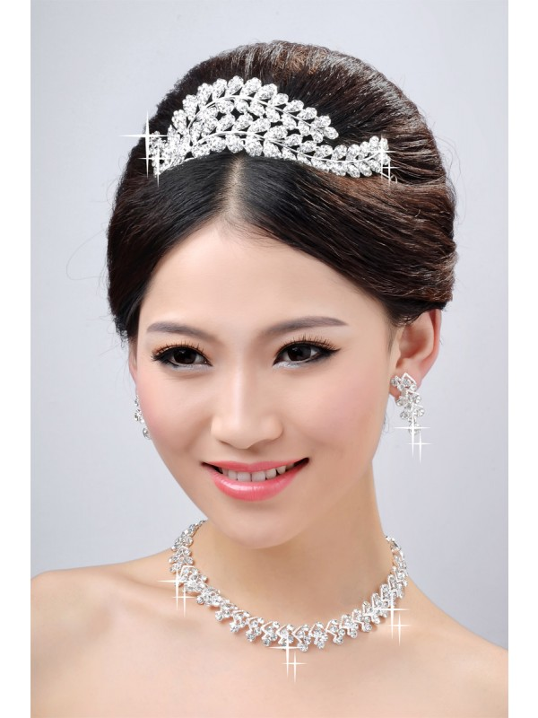 New Style Beautiful Alloy Clear Kristalles Wedding Headpieces Halskette Ohrringe Set