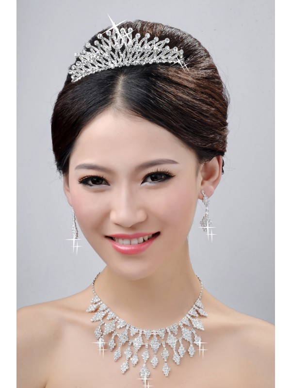 New Style Charming Alloy Clear Kristalles Wedding Headpieces Halskette Ohrringe Set