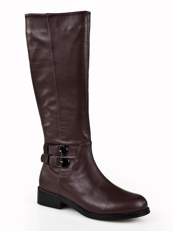 Women's Kitten Heel Closed Toe Cattlehide Leather With Buckle Mid-Calf Chocolate Stiefel
