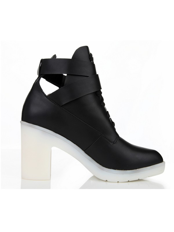Women's Closed Toe Cattlehide Leather Chunky Heel With Buckle Ankle Black Stiefel