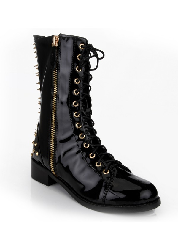 Women's Kitten Heel Closed Toe Patent Leather With Rivet Mid-Calf Black Stiefel