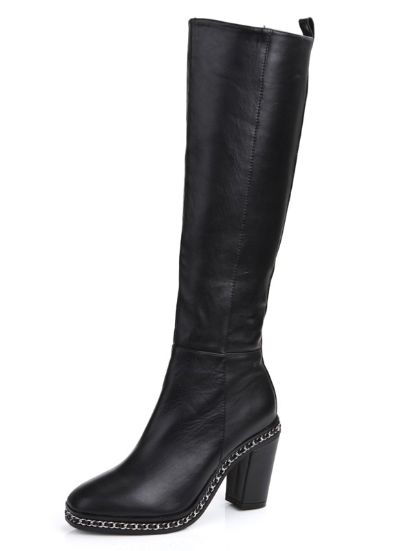 Women's Cattlehide Leather Chunky Heel Closed Toe With Chain Knee High Black Stiefel