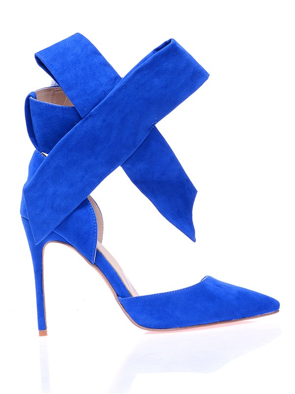 Women's Suede Closed Toe Stiletto Heel With Knot Hohe Schuhe