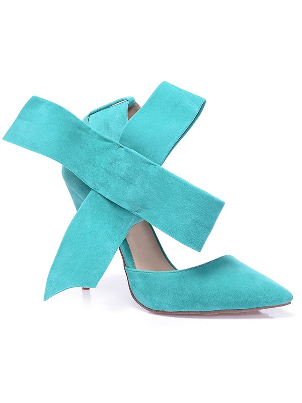 Women's Stiletto Heel Suede Closed Toe With Knot Hohe Schuhe