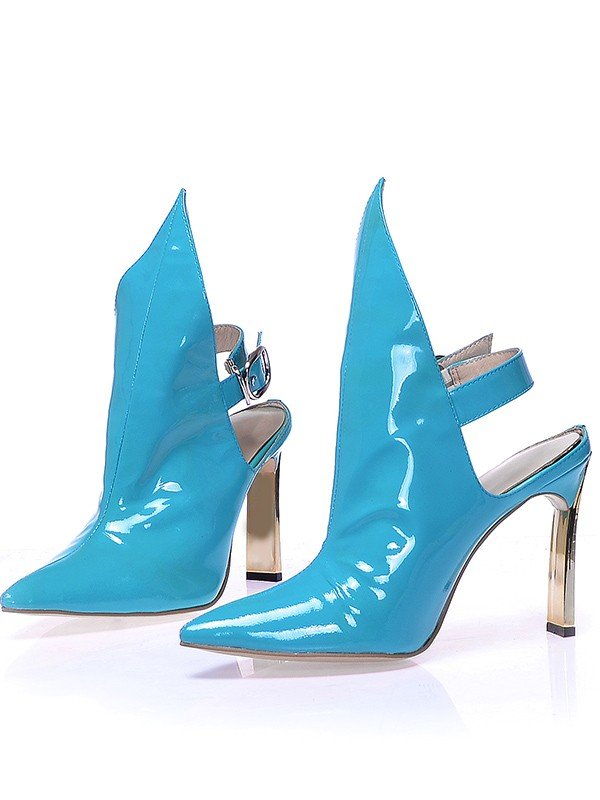 Women's Patent Leather Closed Toe Stiletto Heel With Buckle Booties/Ankle Blue Stiefel