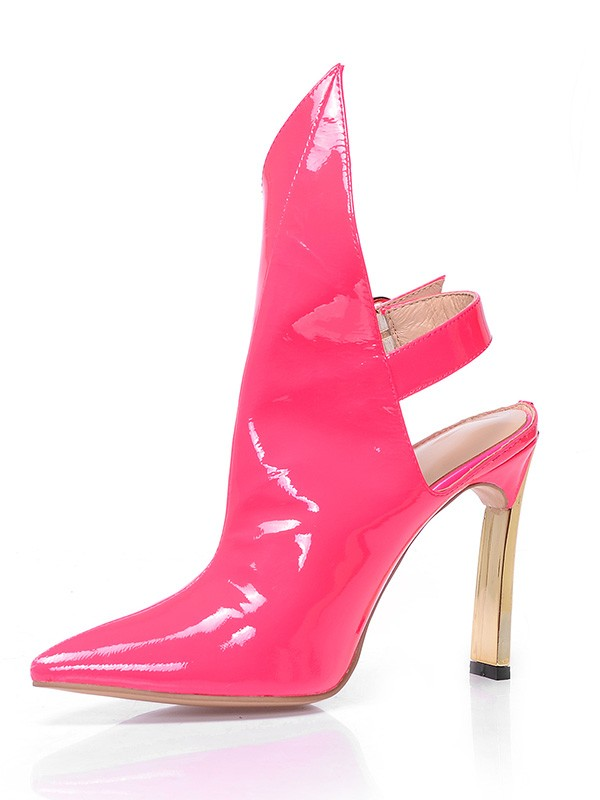 Women's Patent Leather Closed Toe Stiletto Heel With Buckle Ankle Watermelon Stiefel