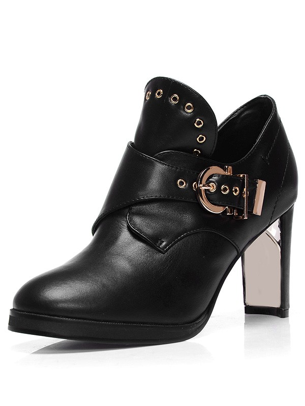 Women's Sheepskin Closed Toe Chunky Heel With Buckle Booties/Ankle Black Stiefel