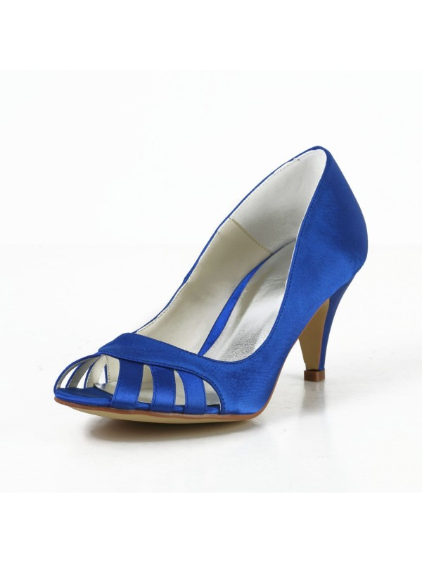 Women's Satin Cone Heel Peep Toe Pumps Hohe Schuhe With Hollow-out