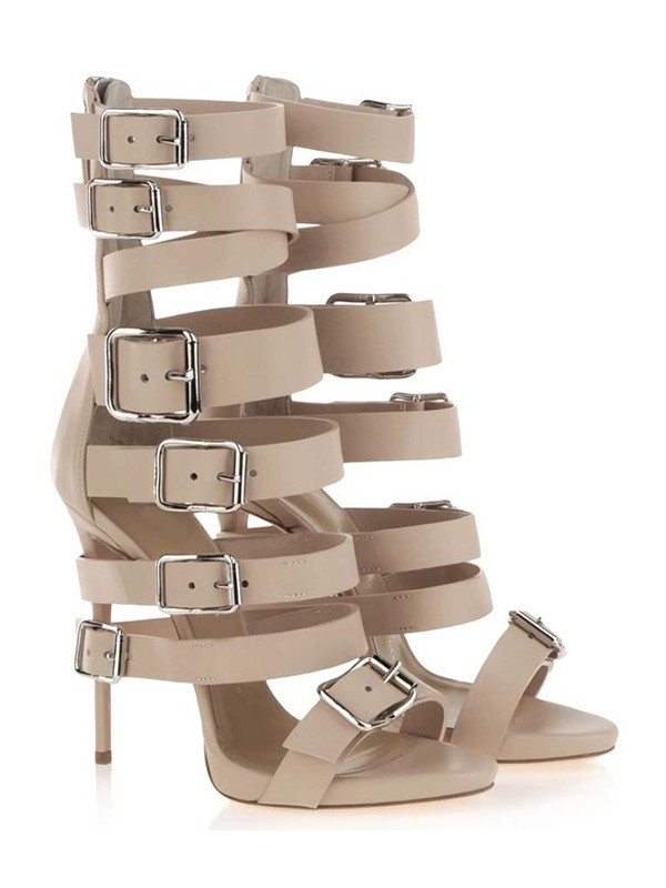 Women's Stiletto Heel Suede Peep Toe Plateauschuhe With Buckle Sandal Mid-Calf Champagne Stiefel