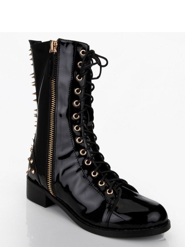Women's Patent Leather Chunky Heel With Rivet Mid-Calf Black Stiefel